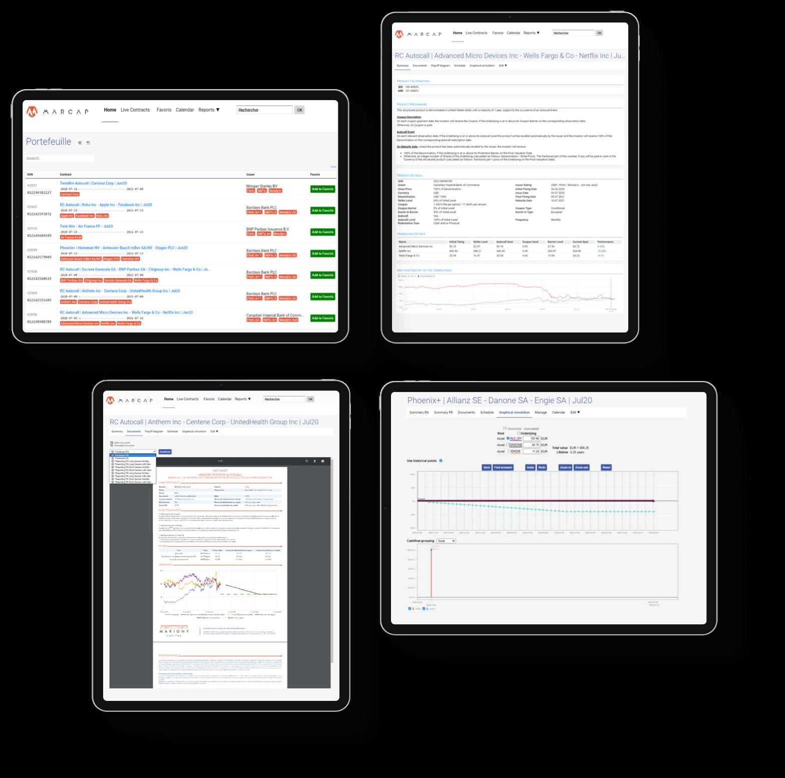 Tablettes digitales pour de l'analyse de données financières
